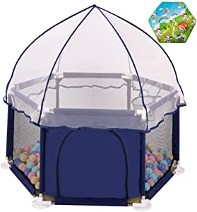 Baby Kids Toddler Playpen Portable Fence Playground Safety Babys Indoor and Outdoor Pool Ball Protection  with 200 Balls Included and Mat Play Puzzle  Blue