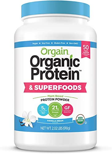 Orgain Organic Plant Based Protein + Superfoods Powder, Vanilla Bean - Vegan, Non Dairy, Lactose Free, No Sugar Added...