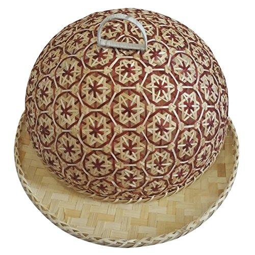 Coralpearl Cubierta para Tapa de Cúpula de Alimentos Tejida de Bambú para...