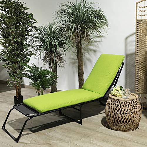TIENDA EURASIA Cojín para Tumbona de Jardín - 10 Colores - Cojín Acolchado Relleno de Fibra - Medidas 180 x 50 x10 cm (Verde Pistacho)