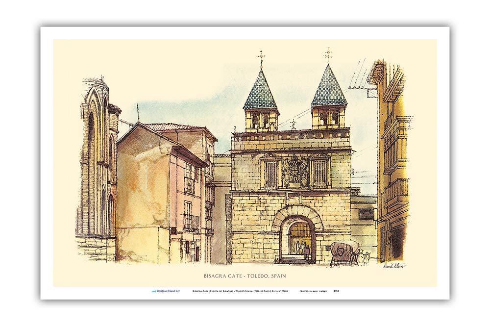 Pacifica Island Art Puerta de Bisagra (Puerta de Bisagra)-Toledo España-TWA (Trans World Airlines)-Viajes en aerolíneas del Cartel de David Klein c.1960s-Arte Master Print-12inx18in: Amazon.es: Hogar