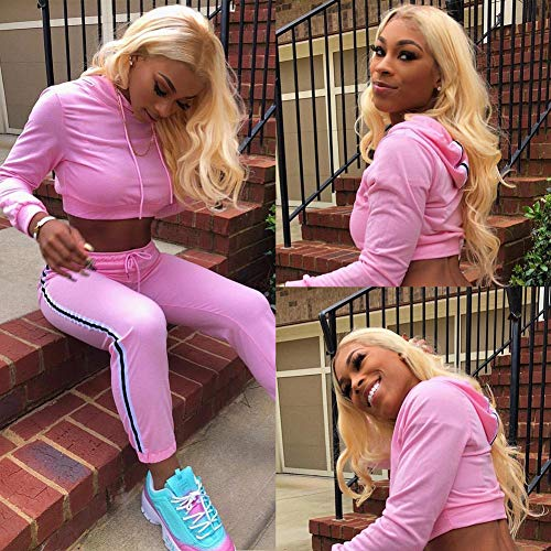 613 Blonde Body Wave Bundles with Frontal Honey Blonde Human Hair Bundles with Frontal 13×4 Human Hair for Black Women Can be Dyed Any Color (14 16 18+12,613#)