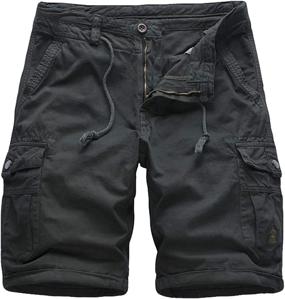 DIOMOR Classic Plus Size Relaxed Fit Big Pockets Drawstring Cargo Shorts for Men Casual Outdoor Comfy Hiking Walk Pants