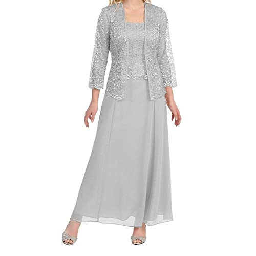 52e27295c32 Chiffon Knee Length Mother of The Bride Dresses with Long Sleeve Jacket  Lace Plus Size