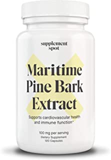 Supplement Spot Maritime Pine Bark Extract 100 mg per Serving| Pine Bark Supplement for Natural Health Support | Antioxida...