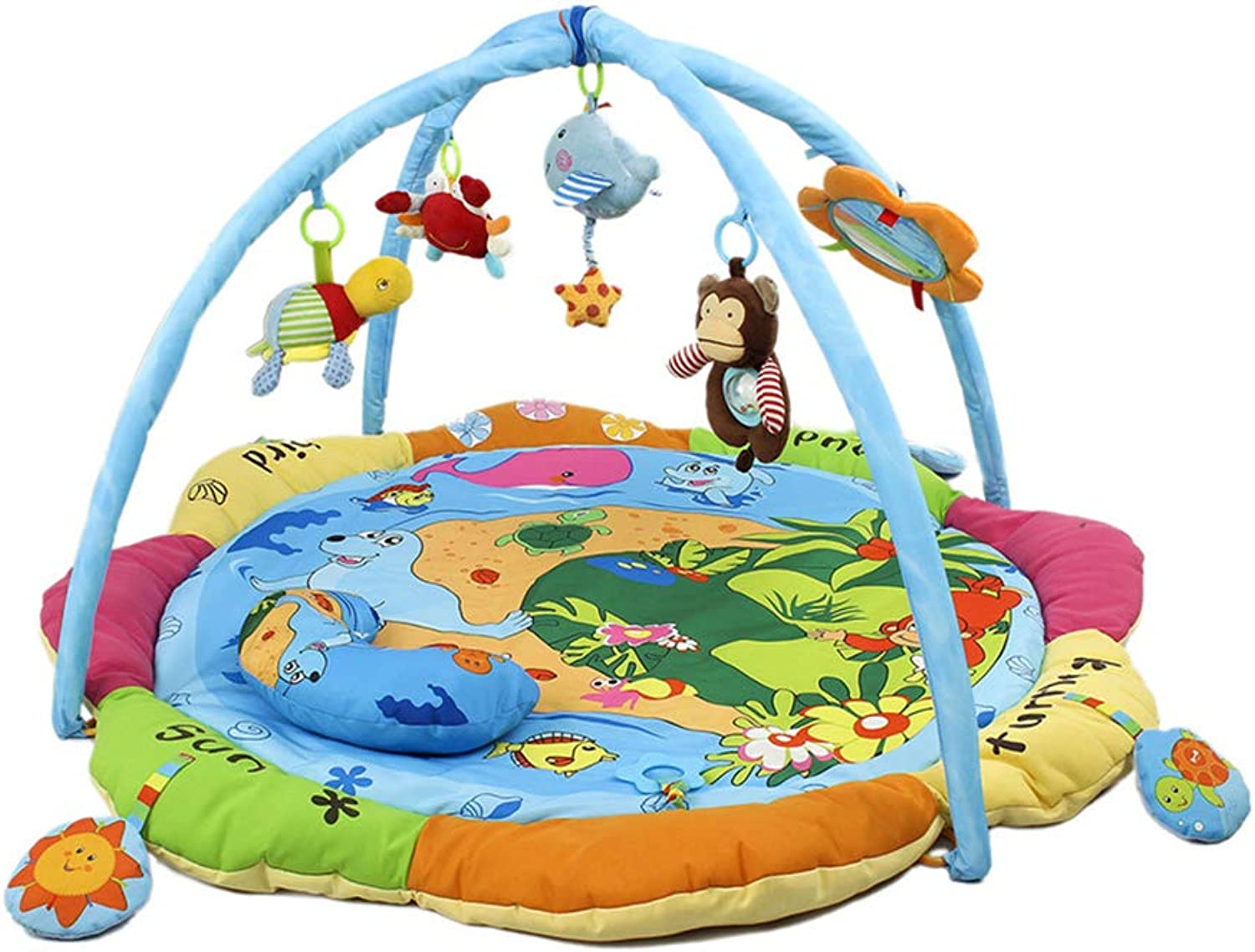 Baby Mat, Super Big Happy Ocean Baby Game Blanket Fitness Rack Baby Music Game Mat Soft Bed, Multiple Music