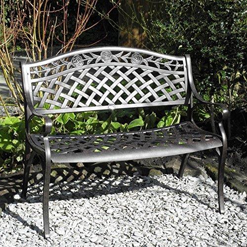 Lazy Susan - Banc de jardin en aluminium ROSE, coloris Bronze Ancien