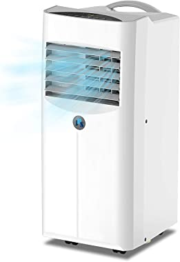 JHS 10,000 BTU Portable Air Conditioner 3-in-1 Floor AC Unit with 2 Fan Speeds, Remote Control and Digital LED Display, Cover