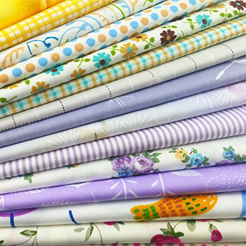 flic-flac 20 x 20 inches (51cmx51cm) Fat Quarter Natural Cotton Quilting Fabric Thick Craft Printed Fabric High Density Bundle Squares Patchwork Lint DIY Sewing (15pcs, Pattern A)