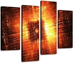 Fiery Hardware Component Fractal, Computer generated Abstract, 3D Canvas Wall Art Hanging Paintings Modern Artwork Abstract Picture Prints Home Decoration Gift Unique Designed Framed 4 Panel