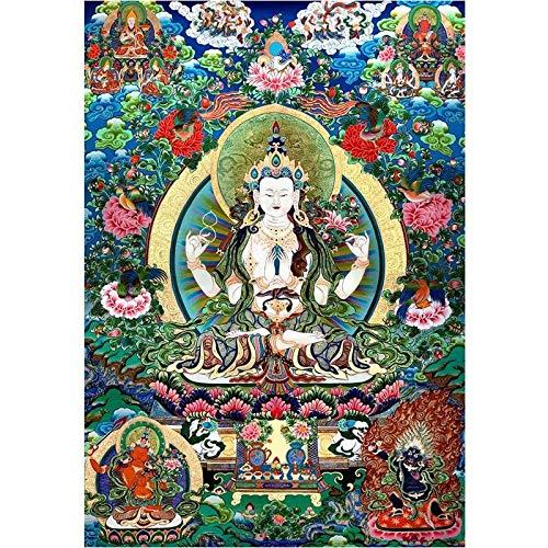 Z.L.F.J.P Tibetisch Dekoration dekorativ Thangka Dekorative Malerei Druck Haushalt (Color : A, Size (Inch) : 30x43cm No Frame)