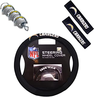 Fremont Die/TeamProMark Official National Football League Fan Shop Authentic NFL Auto Accessories Bundle - Team Steering Wheel Cover, Air Fresheners and Seat Belt Cover