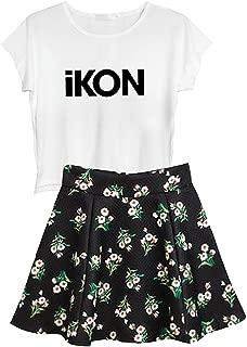 Aopostall Kpop BTS Blackpink Ikon Seventeen Stray Kids Twice Wanna One Top + Floral Skirt Set 2pcs Dress
