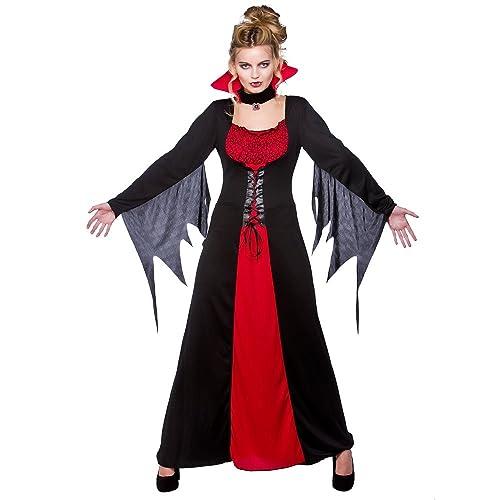 Glam Long Vampiress Ladies Costume Halloween Vampire Womens Fancy Dress Outfit