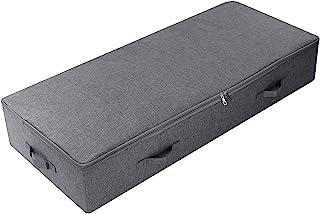 AMX Grand sous Le lit Récipient de Rangement pour couettes, couvertures Accessoires de literie, Gris Noir