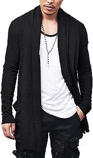 JINIDU Men's Ruffle Shawl Collar Cardigan Premium Cotton Blend Long Length Drape Cape Overcoat