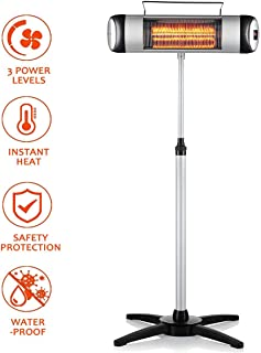 SURJUNY Electric Outdoor Heater, Waterproof Space Heater with 3 Power Levels and Remote Control, Indoor/Outdoor Heater, Free-Standing and Wall-Mounted, LED Display and 24-Hour Timer, X01