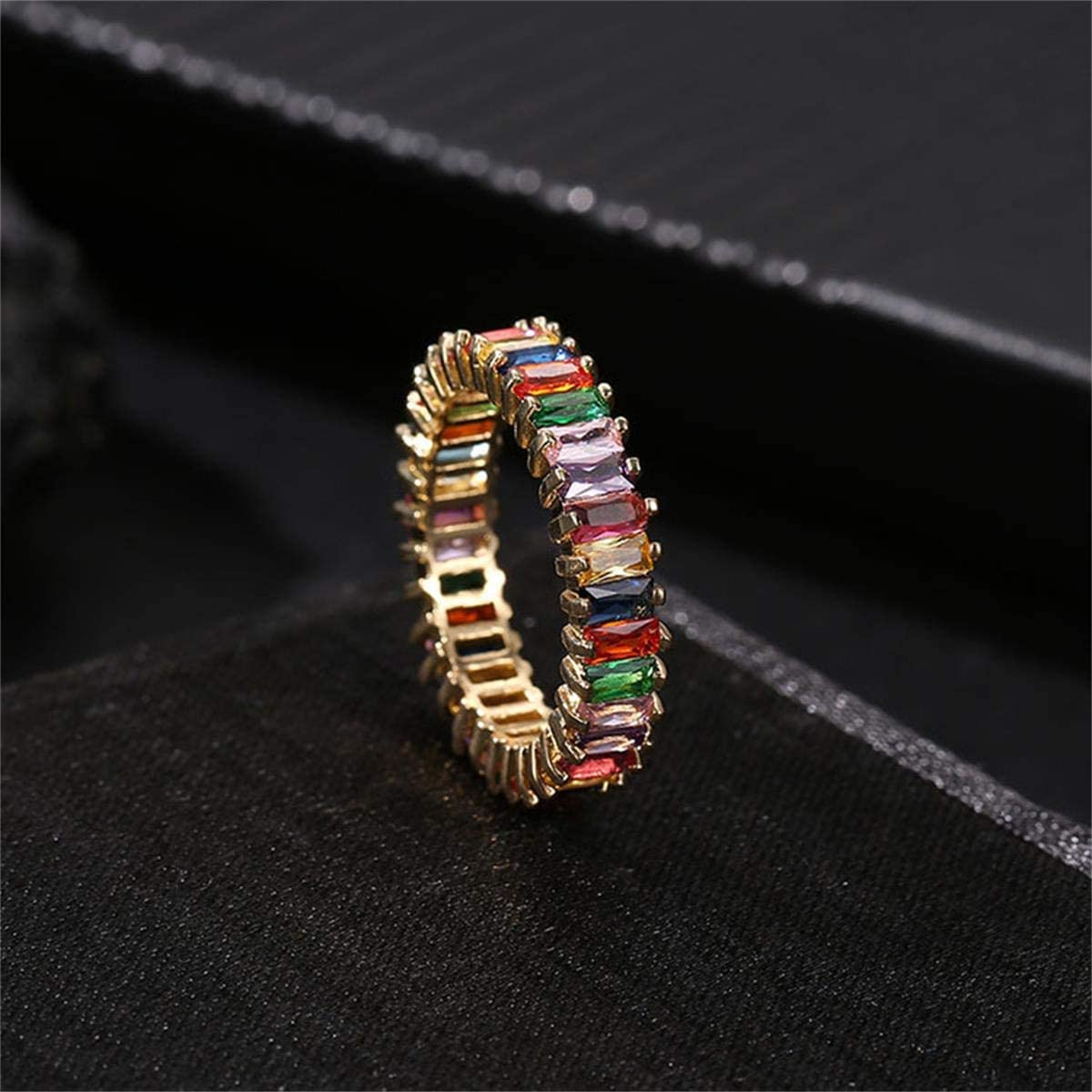 Rainbow Square Baguette Zircon Engagement Ring Colorful Cubic Zirconia Stackable Eternity Band Ring Gold Filled Copper Geometric Thin Line Multicolor Pava CZ Finger Ring for Women Girl Party Jewelry