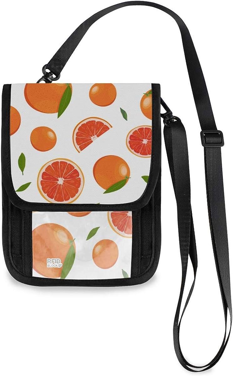 VIKKO Orange Fruits Grapefruit Travel Fresno Mall Wallet RFID With Topics on TV Blo Neck