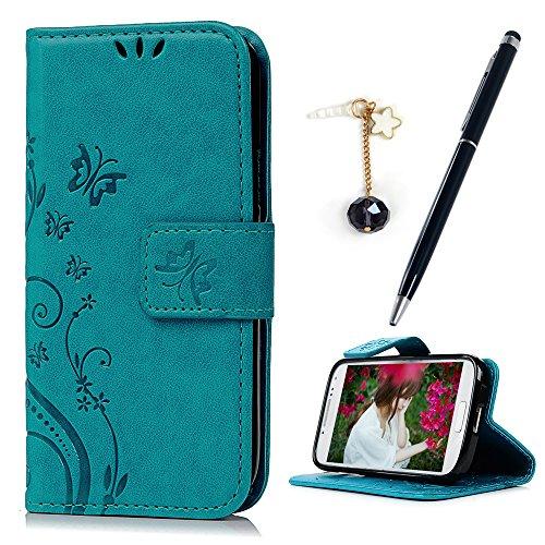 MAXFE.CO Leder Tasche Case für Samsung Galaxy S4 Mini i9190 Hülle PU Schutz Etui Schale Backcover Flip Cover Wallet im Bookstyle mit Standfunktion Karteneinschub und Magnetverschluß Flip Case (blau)