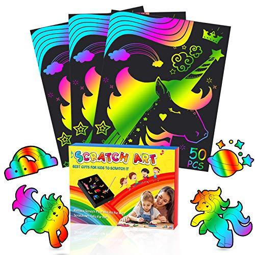 Dreamingbox Juguetes Niños 3-10 Años, Scratch Art para Niños Regalo Niña 3-10 Años Juegos Educativos Niños 3-8 Años Set de Manualidades Niños 3-8 Años Regalos Cumpleaños Niños 3-8 Años