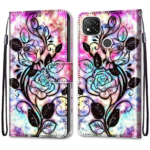 IMEIKONST Flip Case for Redmi 9C Cute Creative Painted Designed Premium PU Leather Wrist Strap Wallet Magnetic Stand Box Cover for Xiaomi Redmi 9C Black Flower DK