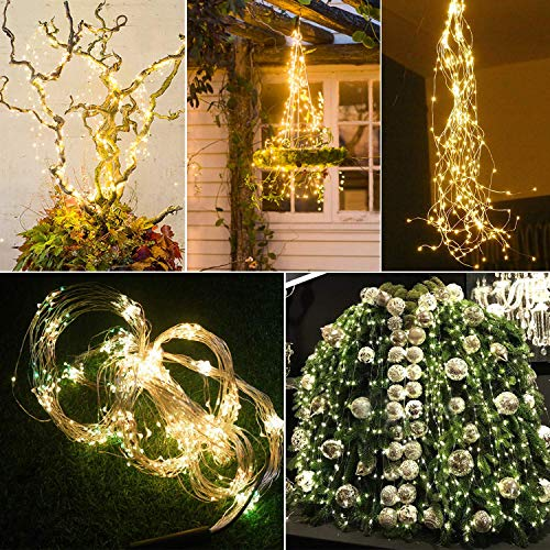 Stringa Luci Led a Batteria Catena Luminosa 10x1M 100 LED con 8 Modalità Flash luci Decorative di Fata per Albero di Natale Giardino Wedding Festival Party Interno Esterno Camera da Letto Decorazione