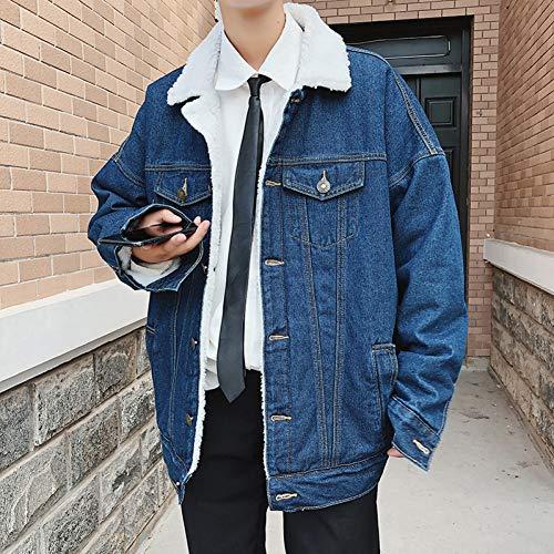 GUOJK Heren Streetwear Spijkerjassen Heren Harajuku-Mode Jeansjassen Jassen Windjack Paar Blauw Bomberjack