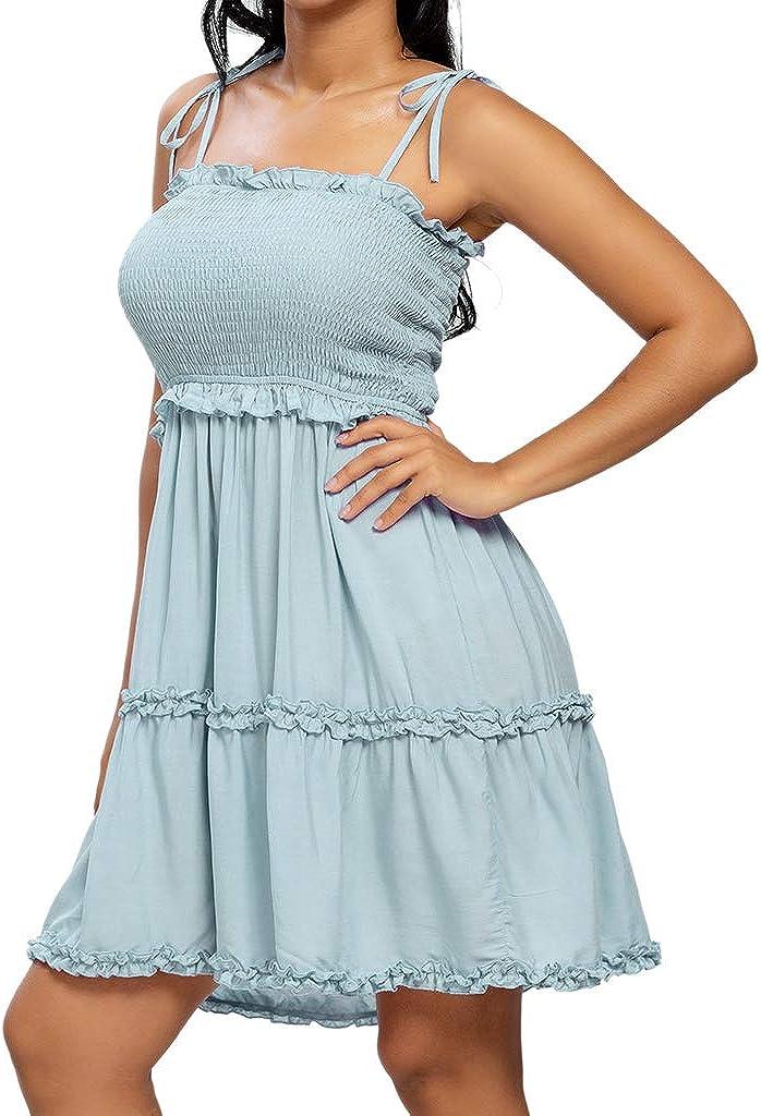 Daenery Spaghetti Strap Ruffle Hem Blackless Solid Color Mini Dress