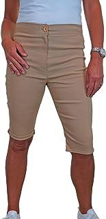 icecoolfashion Pantaloncini Capri Elasticizzati A Vita Alta da Donna. Lunghezza al Ginocchio 42-50