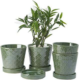 """BUYMAX Plant Pots Indoor –5""""inch Ceramic Flower Pot with Drainage Holes and Ceramic Tray - Gardening Home Desktop Office W..."""