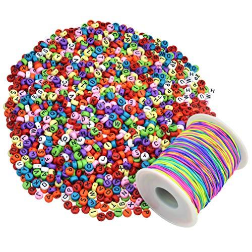 baotongle 1200 Stück Bunte Buchstaben Perlen Rund Zum Auffädeln mit 100 m Elastisch Schnur,Rund Alphabet Perlen Mehrfarbig Für die Herstellung von Armbandschmuck