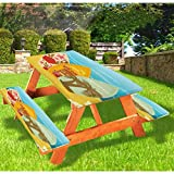 """72"""" Polyester Elastic Edge Fitted Picnic Table Cover Set,Hawaiian Beach Surfboards on Sand Exotic Summer Vacation Sport Vintage Style Tablecloth Fits 6 ft Picnic Tables for Parties Outdoor"""