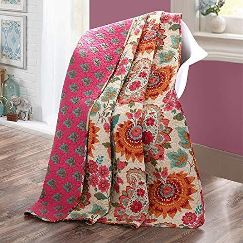 Qucover Unimall zweiseitige Tagesdecke Bettüberwurf Sommer gefüllt mit Fein Baumwolle Paisley Modern Muster 150 x 200 cm