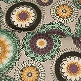 Dekostoff Mandala grau mint lila senfgelb Dekostoffe -