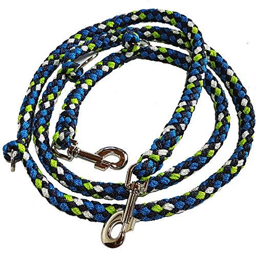 Activity4Dogs Hundeleine geflochten mehrfach verstellbar 2m oder 2,8 m lang (2m 3-Fach verstellbar, apfelgrün-wasserblau-Marineblau-weiß) Made IN Germany