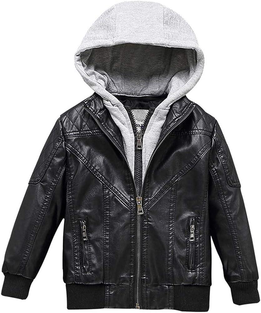 Boy's Faux Leather Motorcycle Biker Zipper 新作製品 世界最高品質人気 Waterproof 入手困難 Coa Jacket
