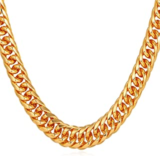 U7 Men Necklace Hip-hop Jewelry Platinum/Gun Black Metal/Rose Gold/18K Yellow Gold Plated Franco Cuban Curb Chain 6mm 9mm