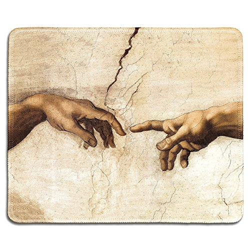 dealzEpic - Art Mousepad - Natural Rubber Mouse Pad with Famous Fine Art Painting of Creation of Adam (Detail) by Michelangelo - Stitched Edges - 9.5x7.9 inches