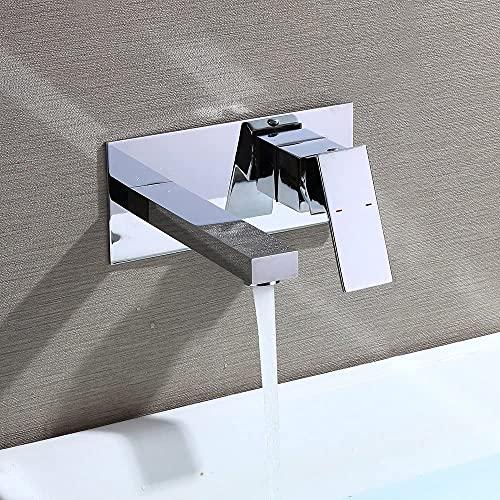 Solina Grifo de cascada con válvula silenciosa de cerámica, mezclador de latón cromado y tapón de lavado (montaje en pared de baño).