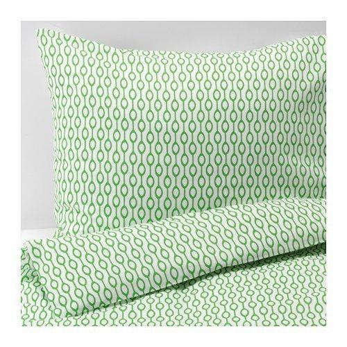 Ikea Rodved King copripiumino e federe, bianco e verde