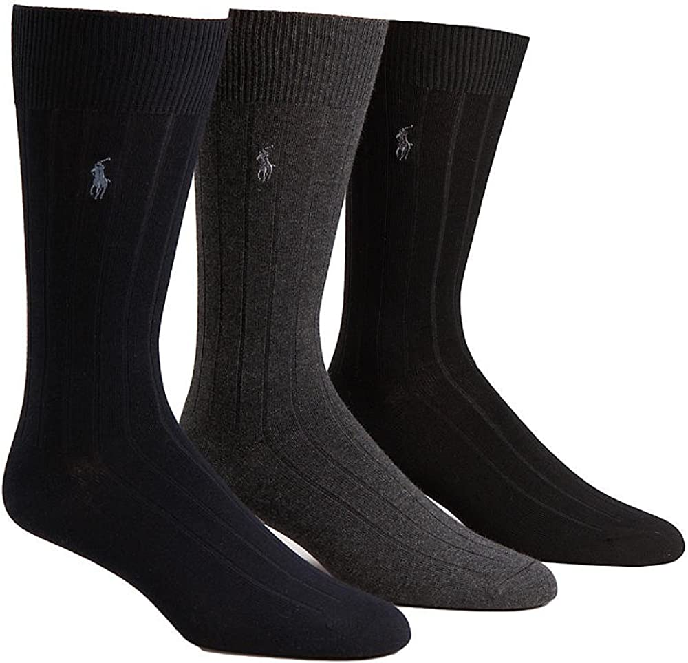 Polo Ralph Lauren Mercerized Cotton Ribbed Dress Socks 3-Pack, One Size, Charcoal Assorted