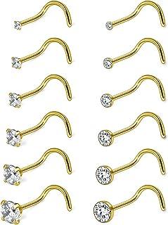 Ruifan 18G 1.5mm 2mm 2.5mm 3mm 3.5mm 4mm Round Diamond CZ Nose Screw Studs Rings Piercing Jewelry 4-12PCS