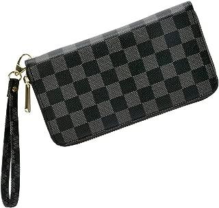 Women's/Men's Checkered Wallet Zipper Wallet Coin Purses Clutch Handbags Leather Checkbook Handbags