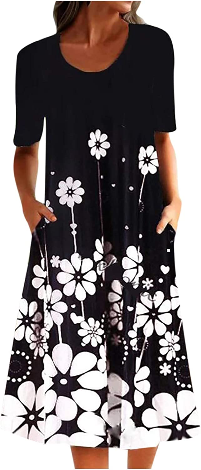 Summer Midi Dress for Womens Plus Size Retro Floral Print Dress Casual Loose Short Sleeve Swing Boho Dress with Pockets
