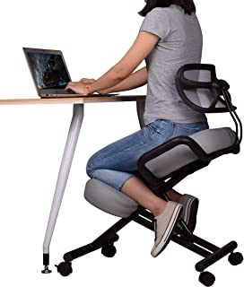 Ergonomic Kneeling Chair with Back Support, Adjustable Stool for Home and Office - Improve Your Posture with an Angled Seat - Thick Comfortable Cushions - Gray …