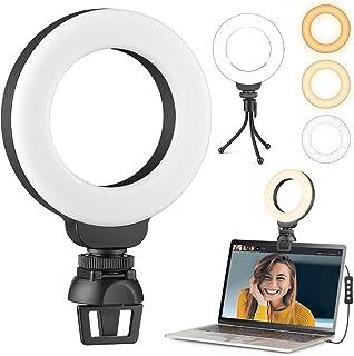 4 inch Video Conferentie Verlichting Kit, LED Selfie Ring Licht met Statief, Selfie RingLicht voor Monitor Clip On, Lapto...