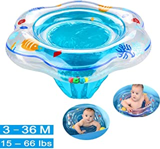 Tebasty Baby Swimming Ring Floats with Safety Seat Double Airbag Swim Rings for Babies Kids Swimming Float Baby Floats for Pool Swim Training Aid Kids PVC Pool Floats for Toddlers of 6-36 Months Blue