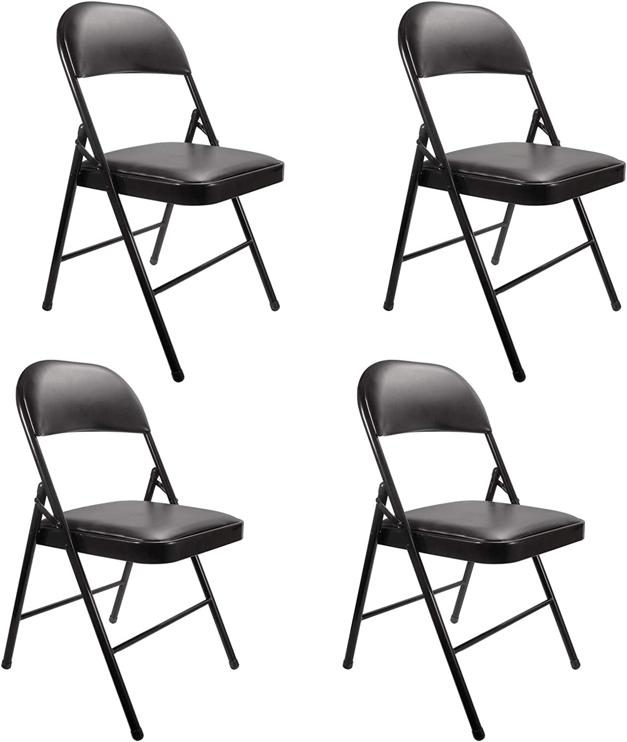 Black Philadelphia Mall Free Shipping Cheap Bargain Gift Folding Chairs 4 Pack with YJHome Metal Pad