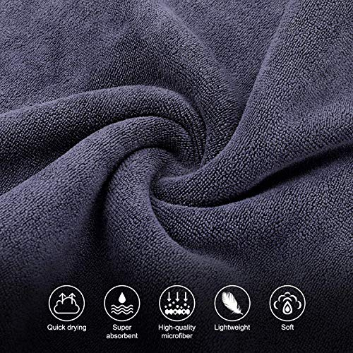 SKL Sports Towel Fast Dry Towel Microfiber Towel Quick Dry Towel Cooling Beach Towel for Sports Travel Gym Golf Yoga Swimming Beach Camping Large Small (Grey, Purple)